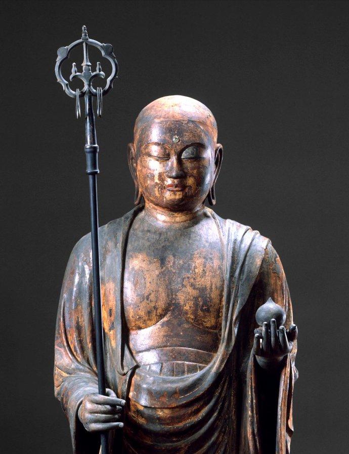 十二世纪镀金彩绘木雕:地藏菩萨立像
