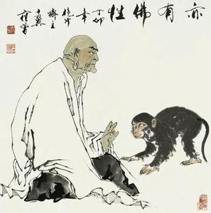 和尚救小动物的佛教图片.